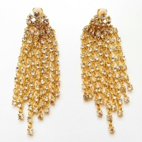 4ab4ae564 Signed Oscar de la Renta Gold Waterfall Earrings. M_5c17a498fe51511802e077af